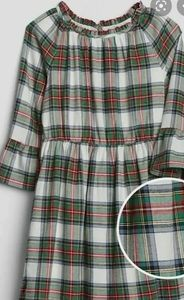 GAP green red blue plaid dress ruffle sleeves